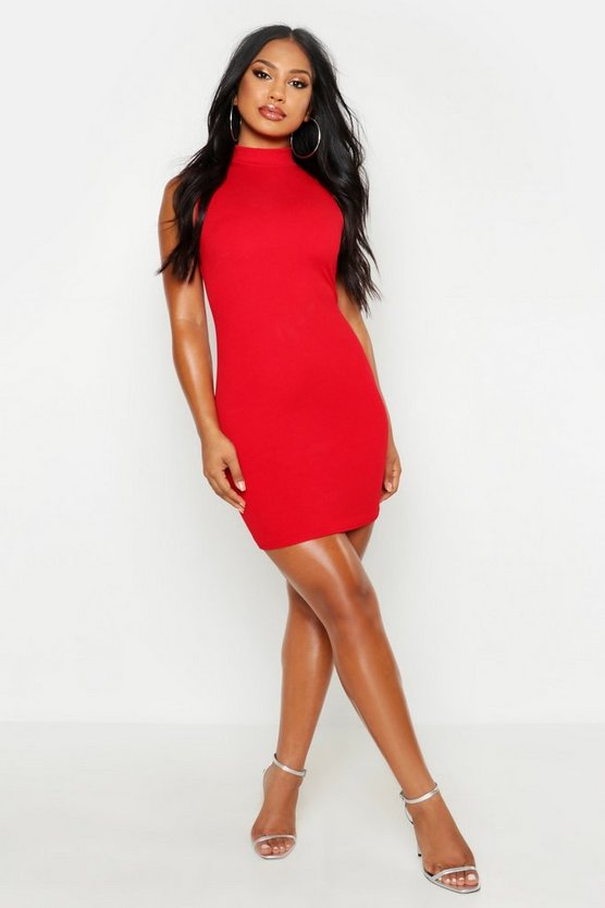 Womens Red Sleeveless Funnel Neck Bodycon Dress
