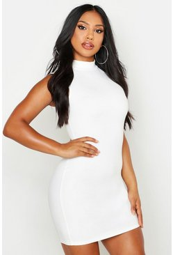 White Sleeveless Funnel Neck Bodycon Dress