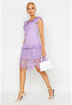 Womens Lilac All Over Crochet Skater Midi Dress