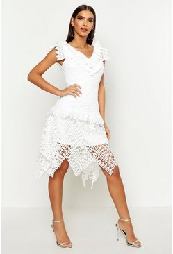 Womens White All Over Crochet Skater Midi Dress