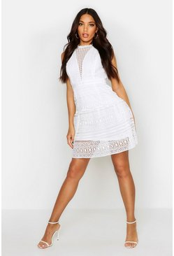Womens White All Over Crochet Dress