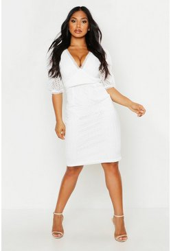 Womens White All Over Crochet Midi Dress