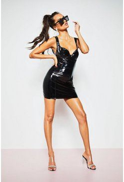 Womens Black Patent PU Mini Dress