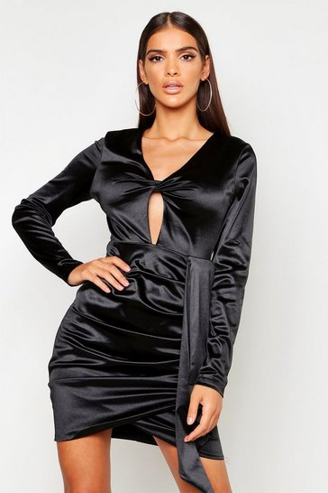 Womens Black Satin Twist Front Ruched Side Dress