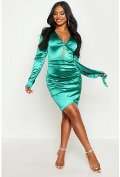 Womens Emerald Satin Twist Front Ruched Side Dress