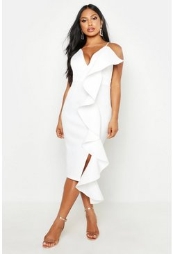 Womens White Ruffle Side Scuba Dress