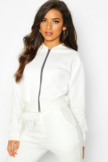 Womens White Crop Bomber Jacket