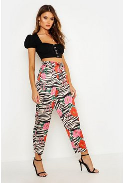 Womens Stone Satin Mixed Zebra Floral Wide Leg Pants
