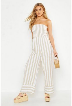 Womens Stone Linen Stripe Shirred Backless Wide Leg Jumpsuit