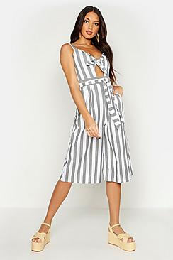 Linen Stripe Belted Knot Front Jumpsuit