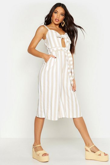 Womens Stone Linen Stripe Belted Knot Front Jumpsuit