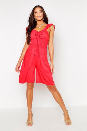 Red Shirred Waist Ruffle Strap Linen Look Jumpsuit