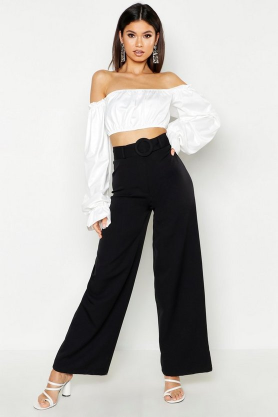 Black The Tailored Belted Wide Leg Pants