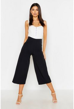 Womens Black The Tailored Wide Leg Culotte