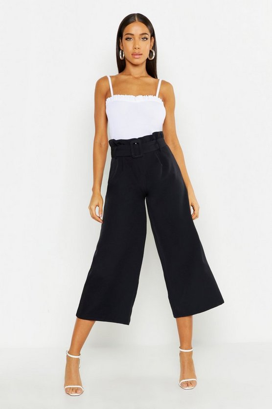 Womens Black The Tailored Paperbag Waist Belted Culotte