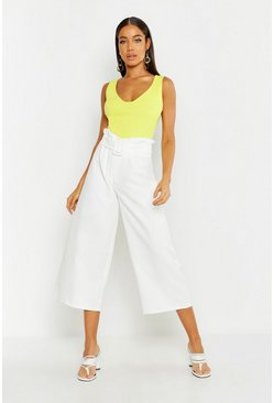 Womens Ivory The Tailored Paperbag Waist Belted Culotte