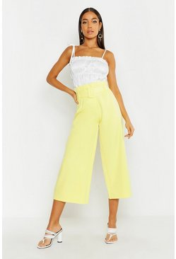 Womens Yellow The Tailored Paperbag Waist Belted Culotte