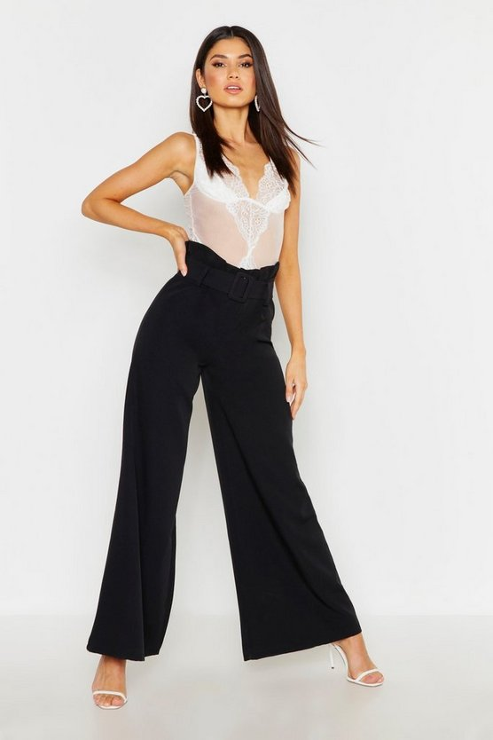 Womens Black The Tailored Paperbag Waist Belted Wide Leg Pants