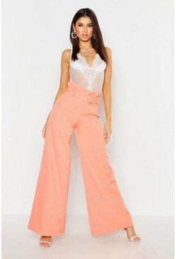 Coral The Tailored Paperbag Waist Belted Wide Leg Pants