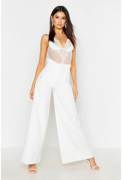 Womens Ivory The Tailored Paperbag Waist Belted Wide Leg Trouser