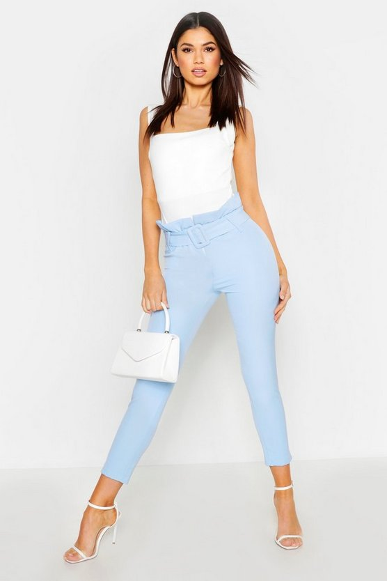 Baby blue The Tailored Paperbag Waist Ankle Grazer