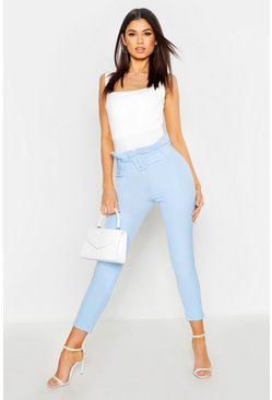 Womens Baby blue The Tailored Paperbag Waist Ankle Grazer