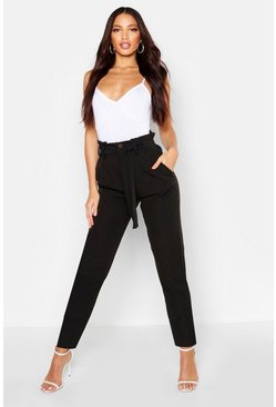 Womens Black Tailored Button Front Tie Waist Pants