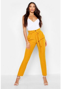 Womens Mustard Tailored Button Front Tie Waist Trouser