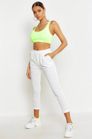 Womens White Neon Contrast Piping Slim Fit Trouser