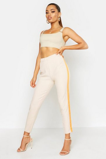 Womens Stone Neon Side Stripe Tailored Trouser