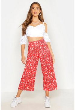 Womens Red Ditsy Floral Tie Waist Culottes