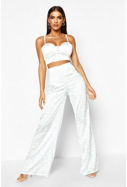 Womens White Tonal Leopard Print Satin Wide Leg Trouser
