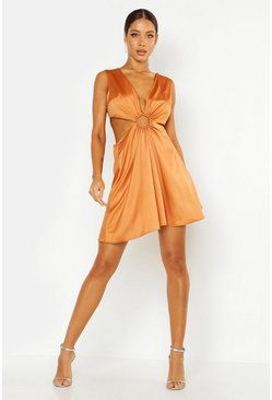 Rust Cut Out Luxe Mini Dress