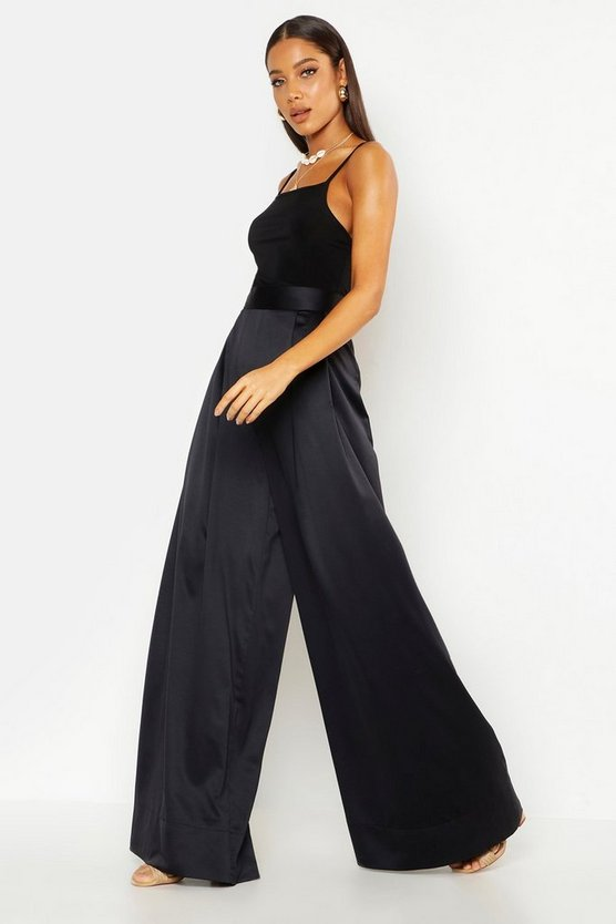 Womens Black Extreme Oversized Luxe Wide Leg Trouser