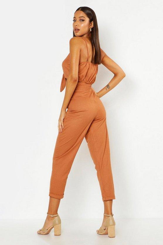 Tapered Linen Drawstring Trouser