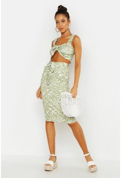 Womens Green Animal Print Tie Front Midi Skirt