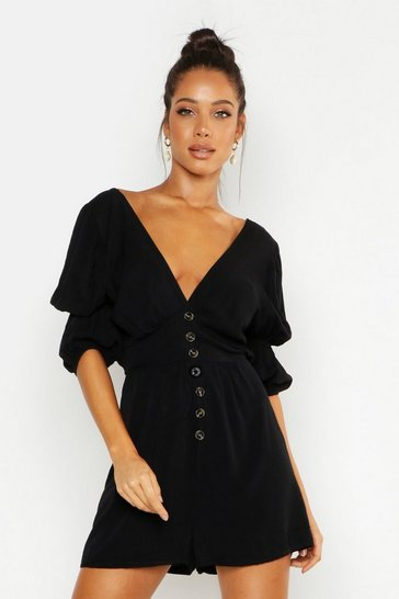 Womens Black Puff Sleeve Button Front Playsuit