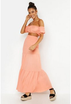 Apricot Shirred Panel Maxi Skirt