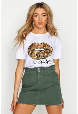 Womens White Leopard French Slogan Lips T-Shirt