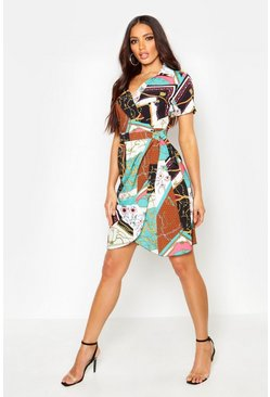Womens Green Chain Print Wrap Dress
