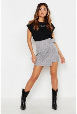 Womens Black Tonal Check O Ring Mini Skirt