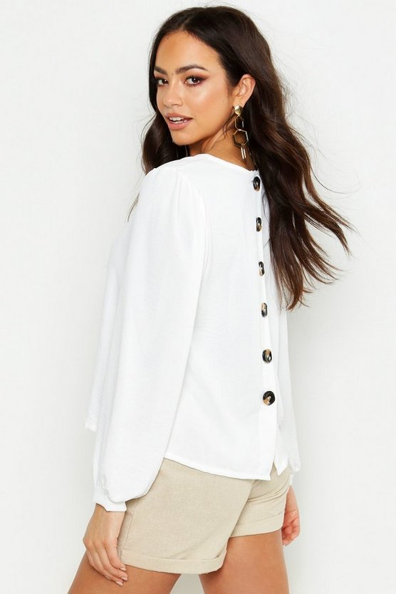 Womens Ivory Button Detail Volume Sleeve Blouse