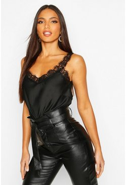 Womens Black Lace Strap Cami