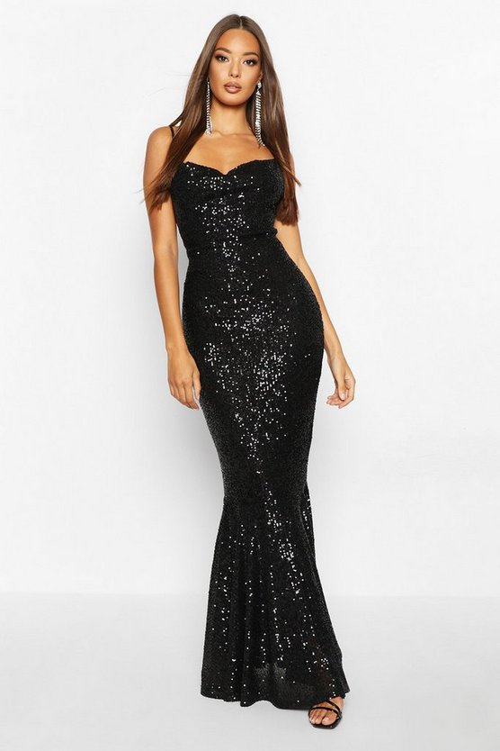Womens Black All Over Embellished Fishtail Maxi Dress