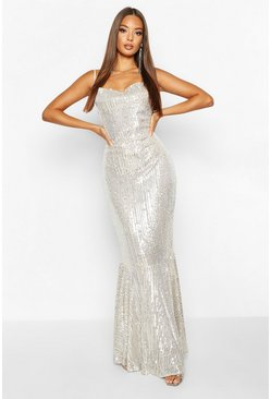 Silver All Over Embellished Fishtail Maxi Dress