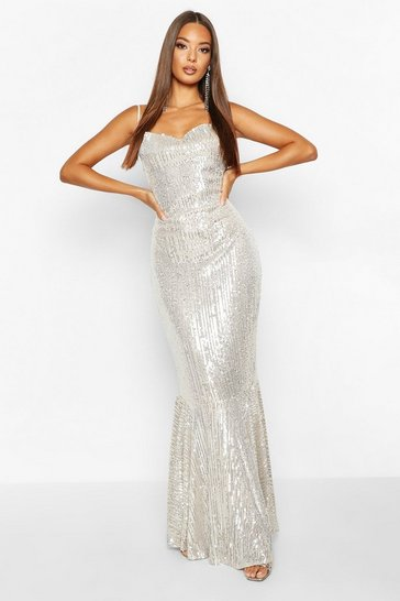 Womens Silver All Over Embellished Fishtail Maxi Dress