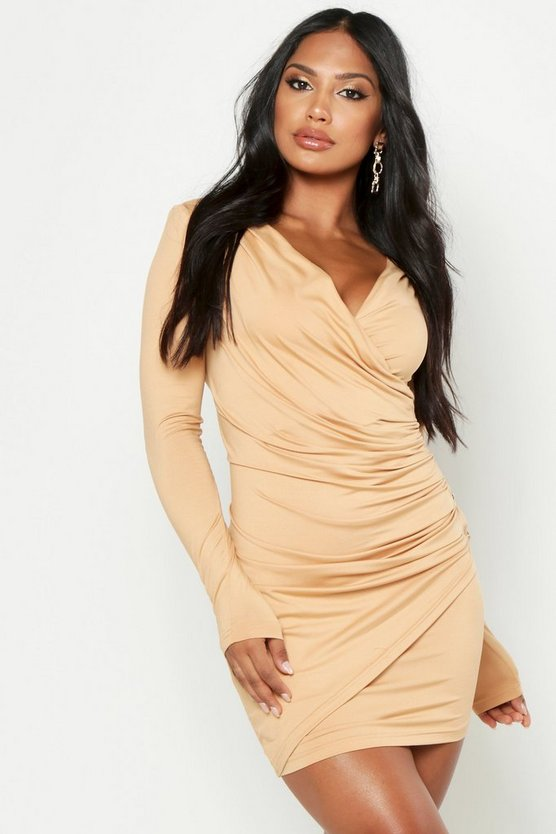 Camel Super Plunge Button Detail Bodycon Dress