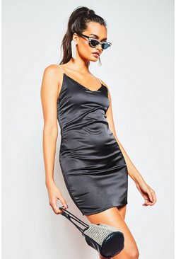 Womens Black Diamante Strap Bodycon Mini Dress