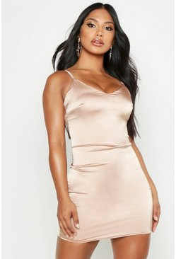 Womens Taupe Diamante Strap Bodycon Mini Dress