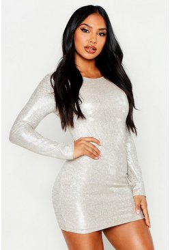 Champagne High Shine Diamante Effect Bodycon Mini Dress